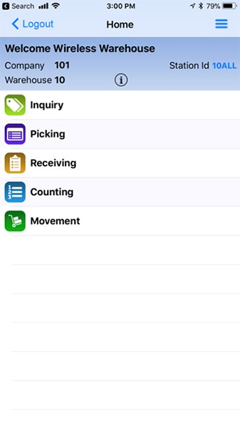 S2K Mobile Warehouse Management System Menu