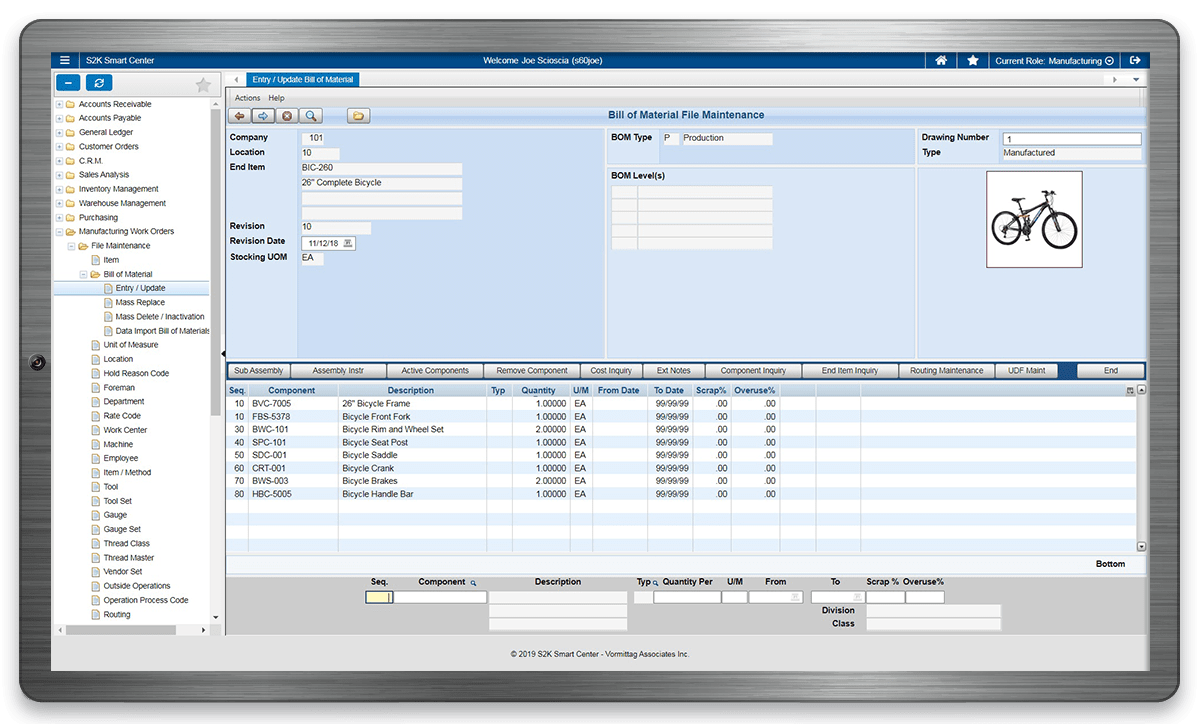 S2K Enterprise Manufacturing Work Orders Software