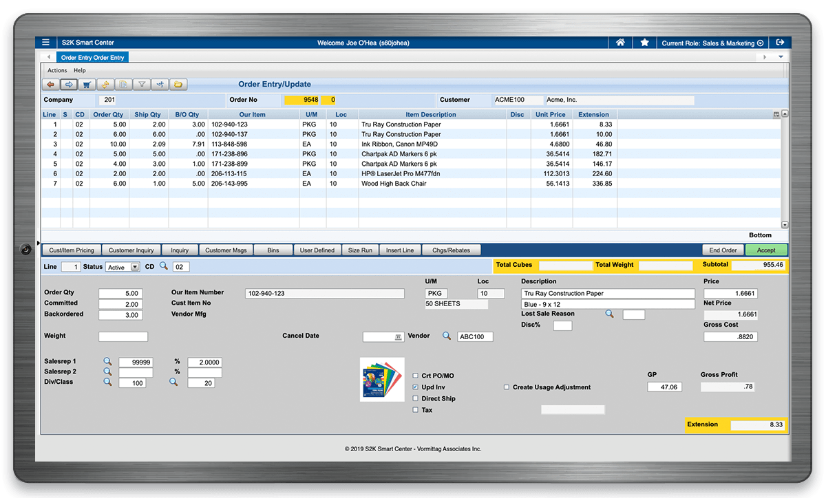 S2K Enterprise Customer Orders Software